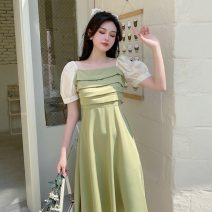 Dress Summer 2021 Light green, black Mid length dress singleton  Short sleeve commute square neck High waist Solid color Socket A-line skirt routine Others 25-29 years old Type A Other / other Korean version Stitching, three-dimensional decoration, lace 81% (inclusive) - 90% (inclusive)