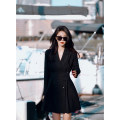 suit Spring 2021 black , Maca XXS,XS,S,M,L Long sleeves Medium length Self cultivation tailored collar double-breasted commute routine Solid color L382A 25-29 years old 96% and above other Liseyen belt