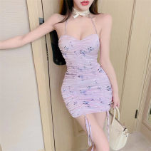 Dress Summer 2021 violet S,M,L Short skirt singleton  Sleeveless commute other High waist Decor other One pace skirt routine camisole 18-24 years old Type H Korean version backless 30% and below brocade polyester fiber