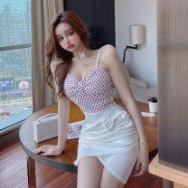 Dress Summer 2021 white S,M,L Short skirt singleton  Sleeveless commute V-neck High waist Dot Socket Irregular skirt other camisole 18-24 years old Type X Other / other Korean version Bows, open backs, folds, stitches 30% and below