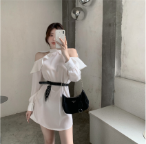 Dress Summer 2021 White, black Average size Short skirt singleton  Long sleeves commute High waist Solid color zipper other shirt sleeve Hanging neck style 18-24 years old Type A Korean version Ruffles, hollowed out 30% and below