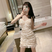 Dress Summer 2021 White, black Average size Short skirt singleton  Sleeveless commute V-neck High waist Solid color Socket Ruffle Skirt other camisole 18-24 years old Type X Other / other Korean version bow 30% and below Lace