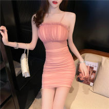 Dress Summer 2021 Pink Average size Short skirt singleton  Sleeveless Sweet One word collar High waist Solid color Socket One pace skirt camisole 18-24 years old Type X Open back, fold, Auricularia auricula 30% and below