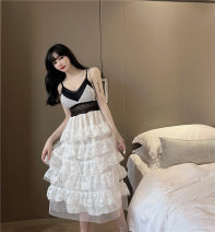 Dress Spring 2021 White, black S,M,L Miniskirt singleton  Long sleeves commute V-neck High waist Solid color Socket Cake skirt Others 18-24 years old Type H Korean version Hollowing out 30% and below