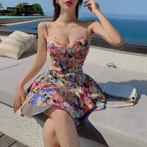 Dress Summer 2021 Decor S,M,L Short skirt singleton  Long sleeves Sweet V-neck High waist Decor double-breasted Ruffle Skirt routine camisole 25-29 years old Type A Button 31% (inclusive) - 50% (inclusive) other princess