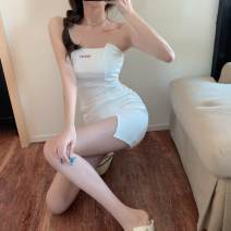 Dress Summer 2021 white Average size Short skirt singleton  Sleeveless commute One word collar High waist Solid color Socket Irregular skirt other Breast wrapping 18-24 years old Type X Korean version backless 30% and below