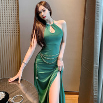 Dress Summer 2021 Green with waist chain, black with waist chain, brick red with waist chain S,M,L Middle-skirt singleton  Sleeveless commute High waist Solid color Socket Irregular skirt routine Hanging neck style 18-24 years old Type X A3095 30% and below