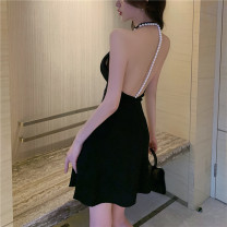 Dress Summer 2021 White, black S,M,L Short skirt singleton  Sleeveless commute other High waist Solid color Socket Ruffle Skirt other Hanging neck style 18-24 years old Type A Korean version 30% and below
