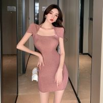 Dress Summer 2021 Sparkle Pink S,M,L Short skirt singleton  Short sleeve commute square neck High waist Solid color Socket One pace skirt routine Others 18-24 years old Type H Other / other Korean version Hollowing out 8103# 51% (inclusive) - 70% (inclusive) knitting polyester fiber