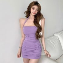 Dress Summer 2021 Picture color Average size Short skirt singleton  Sleeveless commute One word collar High waist Solid color Socket A-line skirt routine Hanging neck style 18-24 years old Type A Retro Pleating 71% (inclusive) - 80% (inclusive) polyester fiber