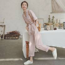 Casual pants Pink, p75 orange, sunny orange XS,S,M,L,XL,2XL Spring 2021 trousers Jumpsuit High waist commute routine 31% (inclusive) - 50% (inclusive) Other / other cotton Korean version pocket cotton