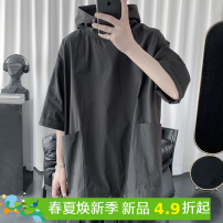 T-shirt Youth fashion Black, green, gray 01, black 01, white 02, apricot 02, gray 02 routine M / 90-115, L / 115-135, XL / 135-155, XXL / 155-180, and XXL / 180-210 Others elbow sleeve Hood easy daily summer Cotton 95% other 5% youth Off shoulder sleeve tide other 2019 Solid color Assembly cotton