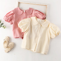 shirt Off white, pink Other / other female Clothing standard 5 # suggested high 90, clothing standard 7 # suggested high 100, clothing standard 9 # suggested high 110, clothing standard 11 # suggested high 120, clothing standard 13 # suggested high 130 summer Short sleeve princess Solid color cotton