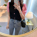 T-shirt black Average size Spring 2020 Short sleeve Crew neck Straight cylinder Regular routine commute other 96% and above 18-24 years old Korean version Color matching