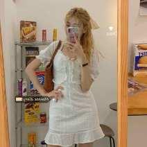 Dress Summer 2020 white Average size Short skirt singleton  Short sleeve commute V-neck High waist Solid color Socket A-line skirt 18-24 years old Type H Ezrin Korean version