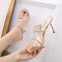 Sandals 34,35,36,37,38,39 silvery , Champagne PU Other / other Barefoot Fine heel Super high heel (over 8cm) Summer 2020 Flat buckle sexy Solid color Adhesive shoes Youth (18-40 years old) rubber daily Back space Buckle, water drill Low Gang Hollow PU PU Flat buckle