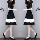 Dress Summer of 2018 669 ᦇ black and white patchwork dress, white and blue T-shirt M [80-100 Jin], l [100-115 Jin], XL [115-125 Jin], 2XL [125-135 Jin], XXXL [135-150 Jin] Mid length dress singleton  Short sleeve commute Crew neck other Socket A-line skirt routine Others Other / other Korean version