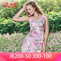 Nightdress Yizhini Light pink and light purple 160(M) 165(L) 170(XL) sexy Leisure home Plants and flowers youth Embroidery 446J Summer of 2019 Polyester 82% polyurethane elastic fiber (spandex) 18% Same model in shopping mall (sold online and offline)