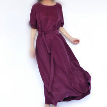 Dress Summer 2021 Purplish red, red, black, deep purple, rose red, lotus root, blue, gold card S,M,L longuette singleton  elbow sleeve commute Crew neck Loose waist Solid color Socket Irregular skirt routine Oblique shoulder 30-34 years old Type A Fashion boutique Village literature Silk and satin