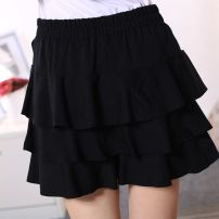 skirt Summer of 2018 XL reference weight 120-155, 3XL reference weight 180-220, 4XL reference weight 220-260, 2XL reference weight 155-180 Black cake skirt Short skirt Sweet Ruffle Skirt Solid color 25-29 years old 51% (inclusive) - 70% (inclusive) knitting Fenghuang Yiwu cotton Lotus leaf edge