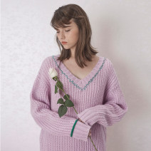 sweater Spring 2020 S,M,L Wisteria, wisteria presale, goose yellow, goose yellow presale Long sleeves Socket singleton  Regular wool 30% and below V-neck Regular Sweet routine Solid color Straight cylinder Regular wool Keep warm and warm 18-24 years old LLANO wool