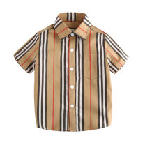 shirt Striped shirt, striped pants, each stripe distribution is different, mind the careful shooting Other / other male 90cm logo 3100cm logo 4110cm logo 5120cm logo 6130cm logo 7140cm logo 8 summer Short sleeve Europe and America stripe cotton Lapel and pointed collar Cotton 100%