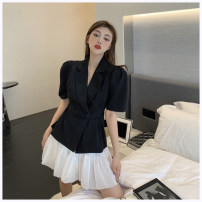 suit Summer 2021 Black top , White coat , Black skirt , White skirt S, M Short sleeve routine commute Solid color 96% and above other