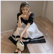 skirt Summer 2021 Average size Black top, white skirt Mid length dress commute High waist A-line skirt More than 95% other other Korean version
