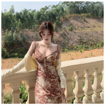 Dress Summer 2021 Picture color S, M longuette singleton  Sleeveless commute High waist Broken flowers Socket A-line skirt camisole Type A Korean version More than 95% other other