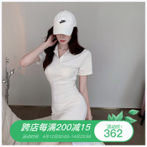Dress Summer 2021 Gray, white, black Average size Short skirt singleton  Short sleeve commute Polo collar High waist Solid color Socket One pace skirt routine Others Type H Korean version Embroidery More than 95% other other