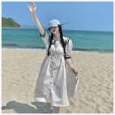 Dress Summer 2021 White, blue Average size Mid length dress singleton  Short sleeve commute Doll Collar Elastic waist Single breasted puff sleeve Others Type A Korean version Stitching, thread, button More than 95% other other