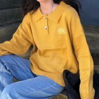 sweater Autumn of 2019 Average size Blue, yellow, black Long sleeves Socket singleton  Regular acrylic fibres 95% and above Polo collar Regular commute routine Cartoon animation Straight cylinder Regular wool Keep warm and warm 18-24 years old Other / other Embroidery acrylic fibres