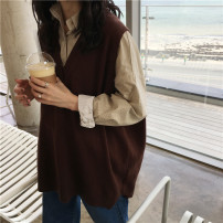 sweater Autumn of 2018 Average size Apricot, grey, black Sleeveless Socket singleton  Regular acrylic fibres 81% (inclusive) - 90% (inclusive) V-neck Regular commute routine Solid color Straight cylinder Regular wool Keep warm and warm 18-24 years old Other / other Fold, thread acrylic fibres