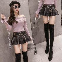 skirt Autumn of 2018 S,M,L,XL,2XL black Short skirt Versatile Natural waist Ruffle Skirt Solid color Type A 18-24 years old PU