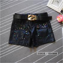 Casual pants Black ﹣ 1625 [belt], black ﹣ 1624 [belt], black ﹣ 1622 [belt], black ﹣ 1621 [belt] S,M,L,XL,2XL Winter of 2019 shorts Pencil pants High waist commute routine 18-24 years old Leatherwear Korean version Nail bead