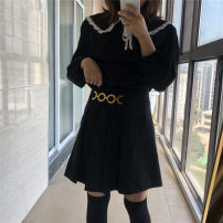 Women's large Spring 2021, summer 2021 black Big XXL, big XXXL, big XXXXL skirt singleton  commute Straight cylinder thin Long sleeves Solid color Medium length polyester fiber pagoda sleeve 25-29 years old zipper Short skirt