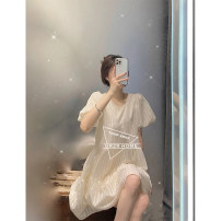 Dress Summer 2021 As shown in the picture S,M,L Middle-skirt singleton  Short sleeve Sweet Crew neck Loose waist Solid color Socket A-line skirt puff sleeve Others Type A cotton