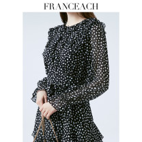 Dress Spring 2021 Black wave point (15 days in advance) S M L XL XXL Mid length dress singleton  Long sleeves commute Crew neck High waist Dot Socket Cake skirt Petal sleeve 30-34 years old Type A Franceach / FA Han · Yi Chi Ol style S20092946 More than 95% silk Mulberry silk 100%