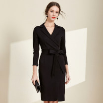 Dress Autumn 2020 black S,M,L,XL,2XL Mid length dress singleton  Long sleeves commute V-neck High waist Solid color zipper One pace skirt routine Others 25-29 years old Type H Meng Meiyi Ol style Bow tie 81% (inclusive) - 90% (inclusive) other cotton