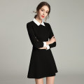 Dress Spring 2021 black S,M,L,XL,2XL,3XL Short skirt singleton  Long sleeves commute Doll Collar High waist Solid color zipper A-line skirt routine Others 25-29 years old Type A Meng Meiyi Simplicity Zipper, 3D More than 95% other cotton