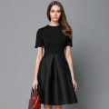 Dress Summer 2020 Black [long sleeve], black [short sleeve] S,M,L,XL,2XL Mid length dress singleton  Short sleeve commute Crew neck High waist Solid color zipper A-line skirt routine Others 25-29 years old Type A Meng Meiyi Retro Panel, zipper 81% (inclusive) - 90% (inclusive) other cotton
