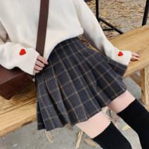 skirt Autumn 2020 S,M,L,XL Dark grey, light grey Short skirt Versatile High waist Pleated skirt lattice Type A 18-24 years old 91% (inclusive) - 95% (inclusive) Wool other