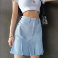skirt Summer 2020 S,M,L Blue, white, green, black Short skirt street High waist Pleated skirt Solid color Type A 18-24 years old WKD1016W0C Other / other cotton Resin fixation Europe and America
