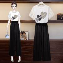 Women's large Summer 2021 Blue two-piece suit, white two-piece suit Other oversize styles Two piece set commute easy moderate Short sleeve shape Crew neck routine printing and dyeing routine AH04121812 Other / other Lace stitching Ninth pants