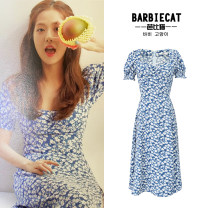 Dress Summer 2020 blue S,M,L longuette singleton  Short sleeve Sweet Decor Big swing puff sleeve 18-24 years old Type X 71% (inclusive) - 80% (inclusive) other Ruili