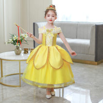 Dress yellow female Other / other 100cm,110cm,120cm,130cm,140cm,150cm Other 100% summer Europe and America polyester Princess Dress Three, four, five, six, seven, eight, nine, ten, eleven, twelve