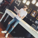 T-shirt Youth fashion White, light gray, dark gray, black, off white routine S [165 white pre-sale 3-5 delivery], m [170], l [175 white pre-sale 3-5 delivery], XL [180] Big flower, small flower Short sleeve Crew neck Self cultivation Other leisure Four seasons A82133 youth routine other 2017 other