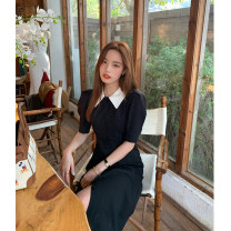 Dress Spring 2021 Khaki: spot, black: spot, black: pre-sale 5-7 working days XS,S,M,L longuette singleton  Short sleeve commute tailored collar middle-waisted Solid color Single breasted A-line skirt routine Others 25-29 years old Type H Korean version Button, print D210207 other polyester fiber