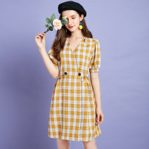 Dress Summer 2020 lattice S M L Middle-skirt singleton  Short sleeve commute V-neck middle-waisted lattice puff sleeve Others 25-29 years old Type X Artka Frenulum LA25_ AK309X More than 95% other Other 100%
