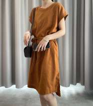 Dress Summer 2021 Pumpkin color 32,34,36,38,40,42 longuette singleton  Short sleeve commute Crew neck middle-waisted Solid color other routine 25-29 years old Type H DEAR JANE'S COLLECTION Ol style More than 95% other hemp